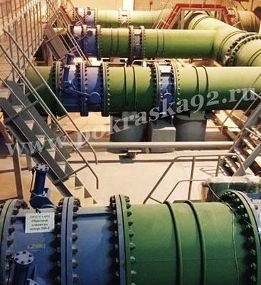 Покраска труб насосной станции ТЭС г. Севастополь