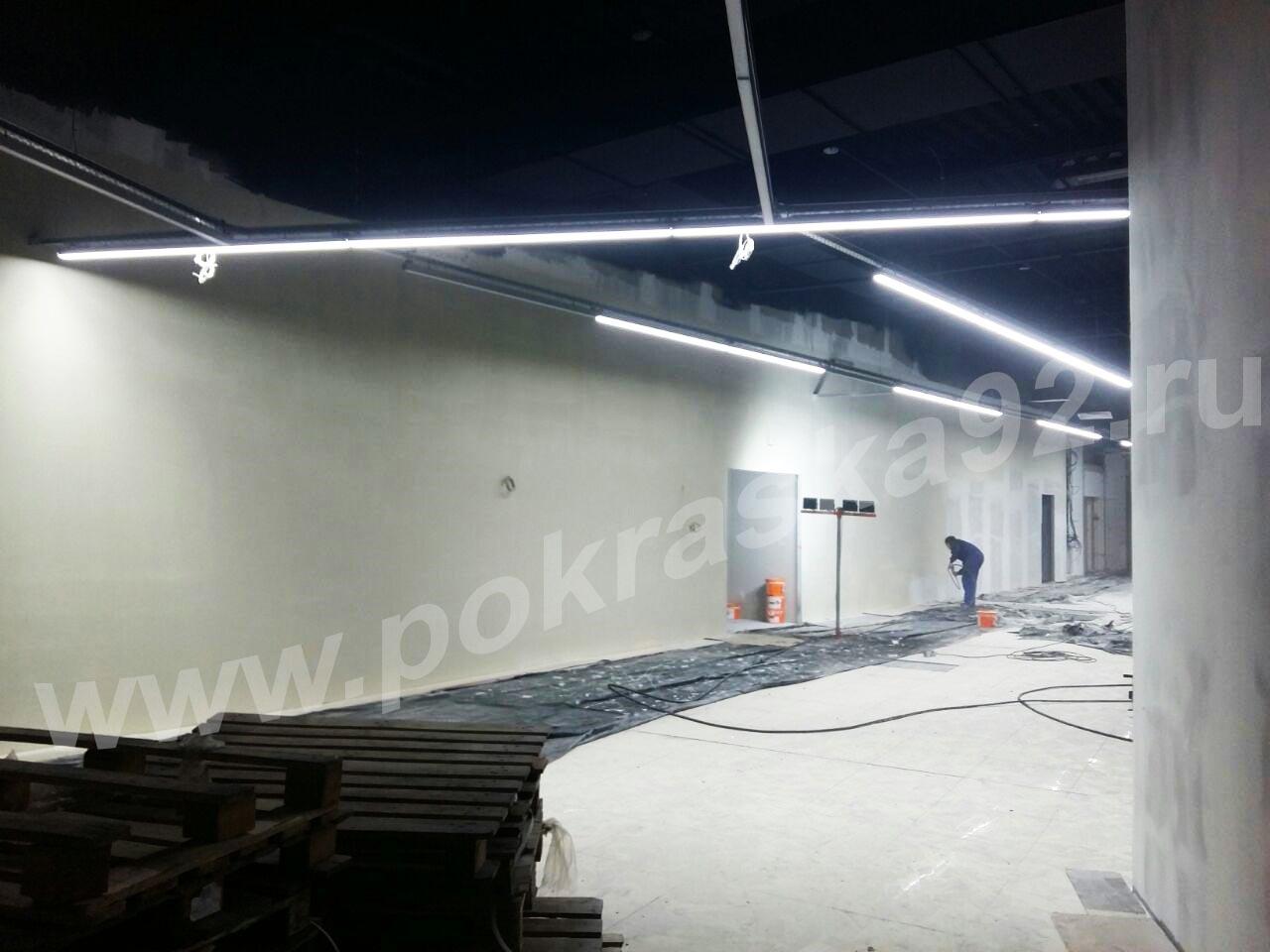 Покраска стен и потолка гипермаркет DNS г. Севастополь ул. Пожарова