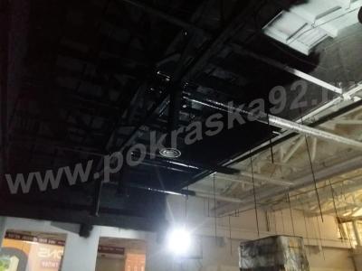 Покраска потолка в черный гипермаркет DNS г. Симферополь