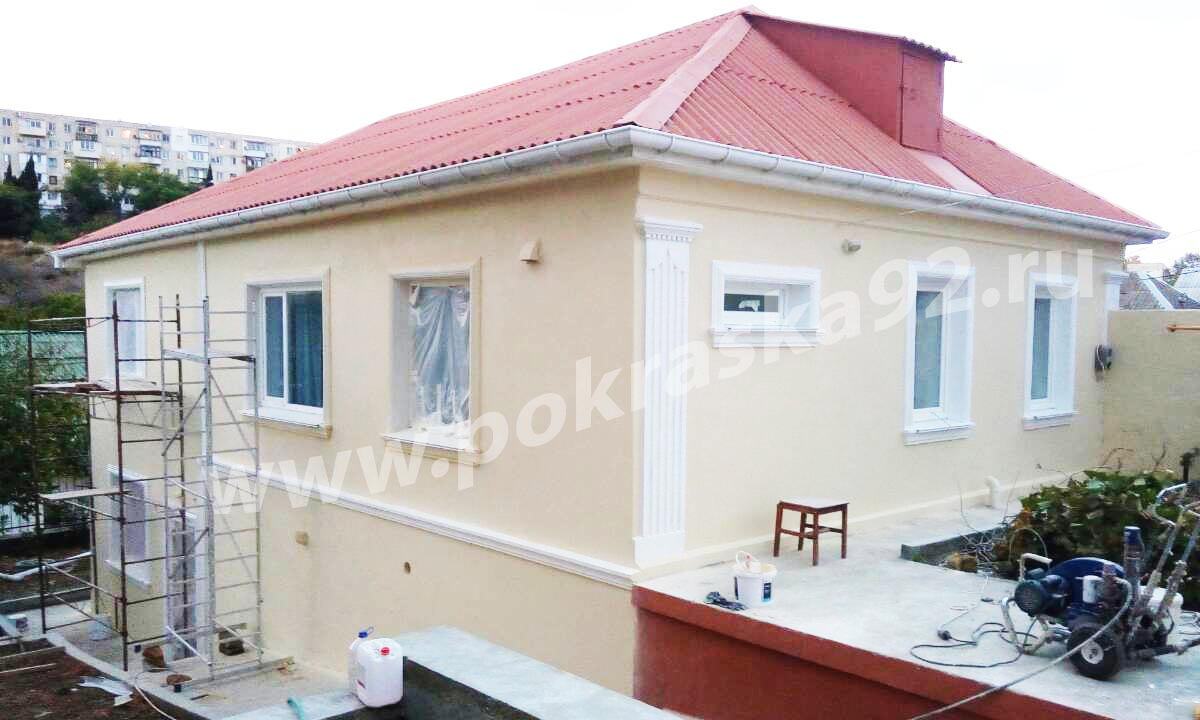 Штукатурка и шпаклевка фасада дома Севастополь