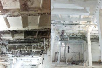 Покраска потолка в цеху, удаление плесени